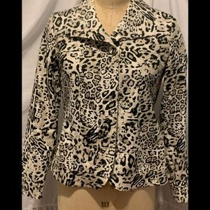 Chico's White Leopard Denim Jacket sz Small